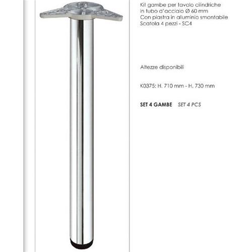 Gambe Per Tavoli In Alluminio.Prodotto 382 Kit 4 Gambe Per Tavolo Cromo Satinate D 60 Mm H